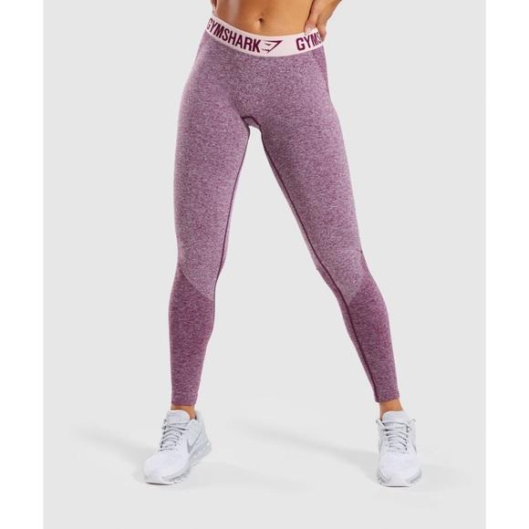 Gymshark Flex Leggings, Ruby Marl/Blush Nude, S